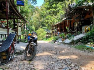 An image of a motorcycle on a pathway