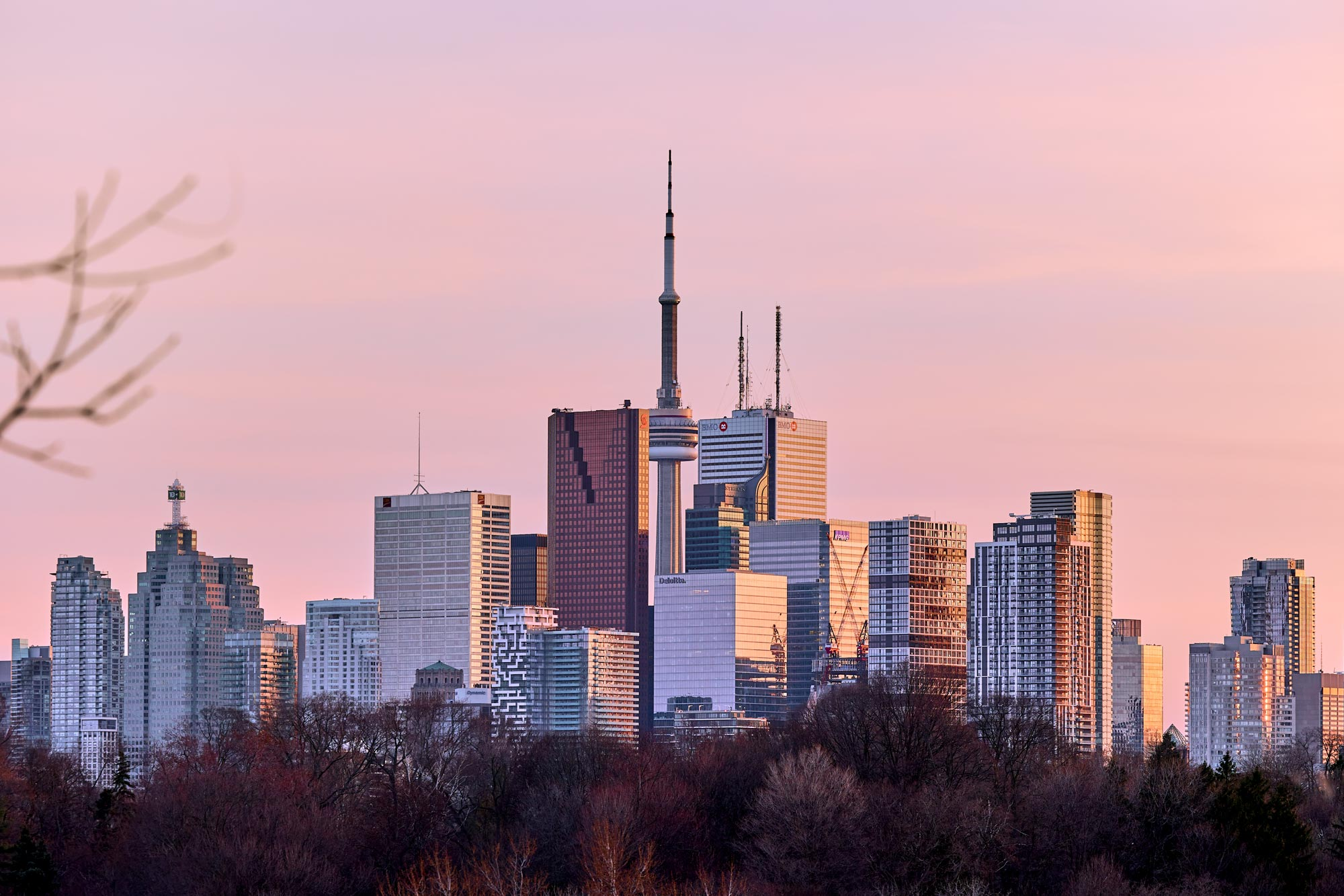 Toronto skyline during sunset